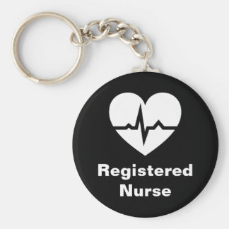 Registered nurse heart ECG wave black keychain