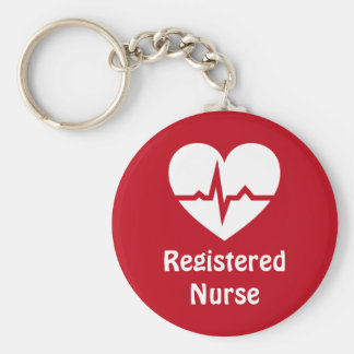 Registered nurse heart with ECG wave red keychain
