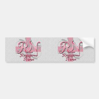 Registered Nurse, Pink Cross Swirls Bumper Sticker