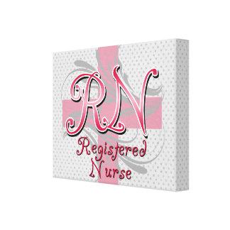 Registered Nurse, Pink Cross Swirls Stretched Canvas Prints