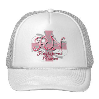 Registered Nurse, Pink Cross Swirls Cap