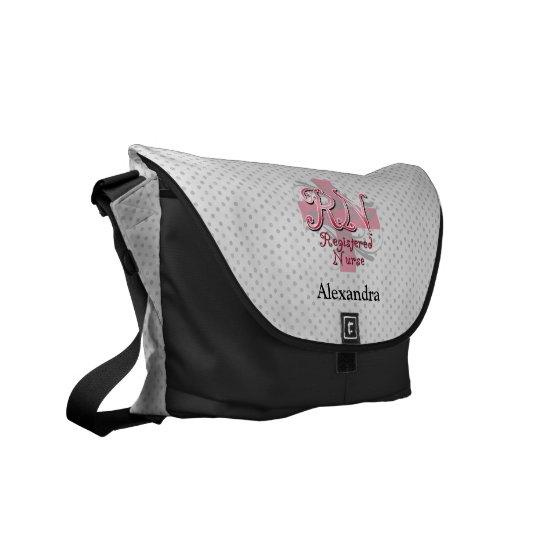 Registered Nurse, Pink Cross Swirls Commuter Bag
