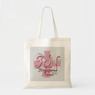 Registered Nurse, Pink Cross Swirls Canvas Bag