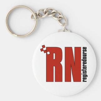Registered Nurse RN Basic Round Button Key Ring