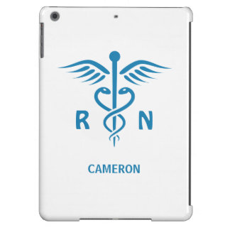 Registered nurse RN blue caduceus personalized Cover For iPad Air