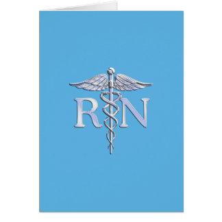 Registered Nurse RN Caduceus on Baby Blue Card