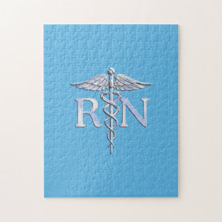 Registered Nurse RN Caduceus on Baby Blue Jigsaw Puzzle