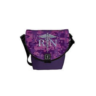 Registered Nurse RN Caduceus on Fuchsia Camo Courier Bag