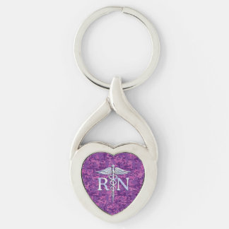 Registered Nurse RN Caduceus on Fuchsia Camo Silver-Colored Twisted Heart Key Ring