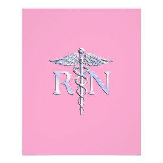 Registered Nurse RN Caduceus on Light Pink 11.5 Cm X 14 Cm Flyer