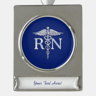Registered Nurse RN Caduceus on Navy Blue Decor Silver Plated Banner Ornament