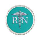 Registered Nurse RN Caduceus on Turquoise Decor Lapel Pin