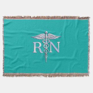 Registered Nurse RN Caduceus on Turquoise Decor Throw Blanket