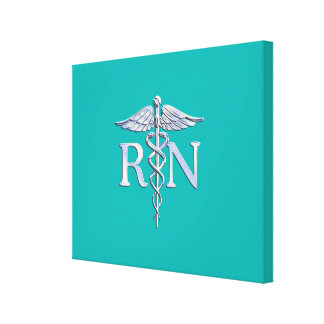 Registered Nurse RN Caduceus on Turquoise Gallery Wrap Canvas