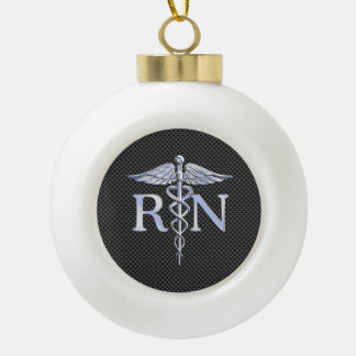 Registered Nurse RN Caduceus Snakes Black Carbon Ceramic Ball Decoration
