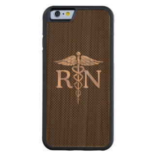 Registered Nurse RN Caduceus Snakes Carbon Carved Cherry iPhone 6 Bumper Case