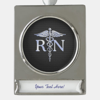 Registered Nurse RN Caduceus Snakes Carbon Silver Plated Banner Ornament