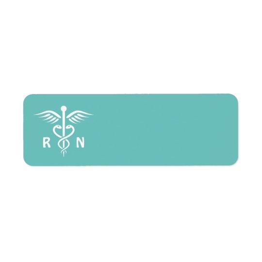 Registered nurse RN caduceus symbol on aqua blank