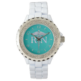 Registered Nurse RN Caduceus Watch on Turquoise