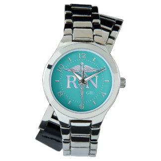 Registered Nurse RN Monogram Watch on Turquoise