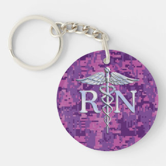 Registered Nurse RN Silver Caduceus Fuchsia Camo Key Ring
