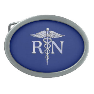 Registered Nurse RN Silver Caduceus Navy Blue deco Belt Buckles