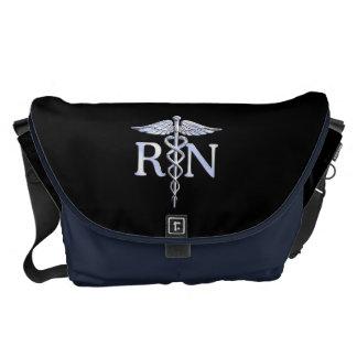 Registered Nurse RN Silver Caduceus on Black Courier Bag