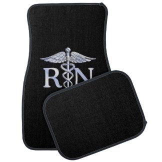 Registered Nurse RN Silver Caduceus on Black Floor Mat