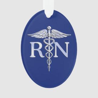 Registered Nurse RN Silver Caduceus on Navy Blue