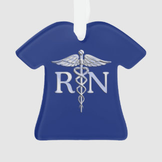 Registered Nurse RN Silver Caduceus on Navy Blue Ornament