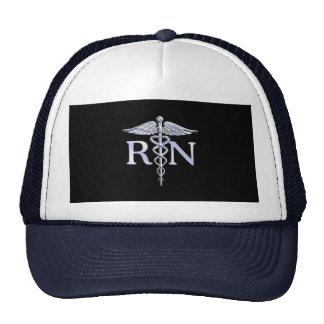 Registered Nurse RN Silver Caduceus Snakes Black Cap