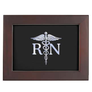 Registered Nurse RN Silver Caduceus Snakes Black Keepsake Boxes