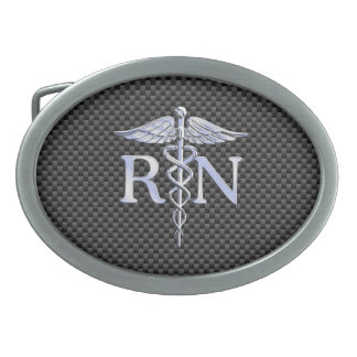 Registered Nurse RN Silver Caduceus Snakes Oval Belt Buckle