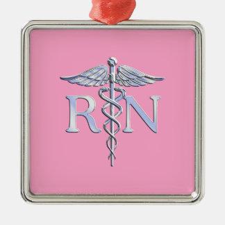 Registered Nurse Silver Caduceus Light Pink Decor Christmas Ornament