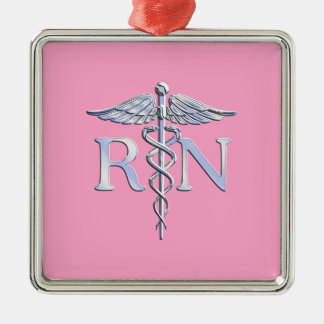 Registered Nurse Silver Caduceus Light Pink Decor Silver-Colored Square Decoration