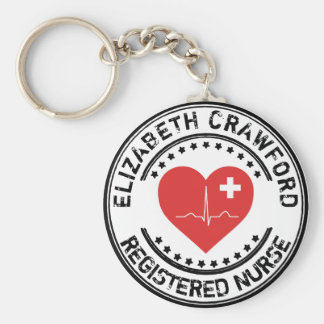 Registered Nurse Stamp Heart ECG With Your Name Basic Round Button Key Ring