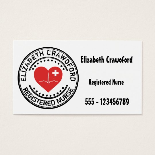 Registered Nurse Stamp Heart ECG With Your Name Business Card