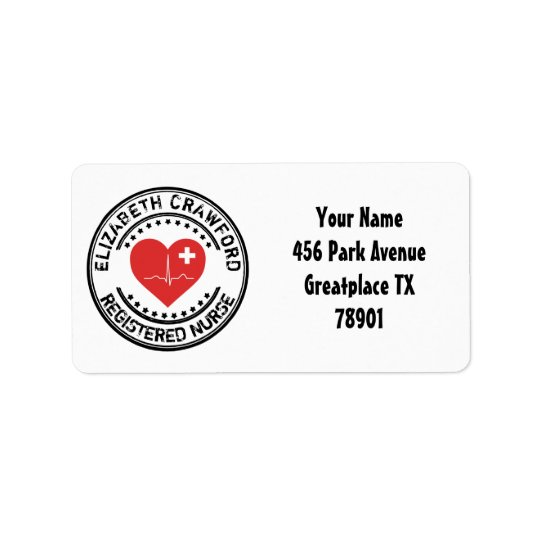 Registered Nurse Stamp Heart ECG With Your Name Label
