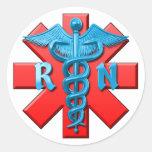 Registered Nurse Symbol Round Stickers