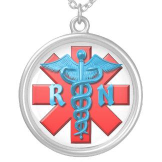 Registered Nurse Symbol Silver Plated Necklace