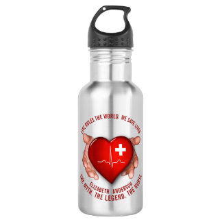 Registered Nurse With Red Heart In Hands 532 Ml Water Bottle