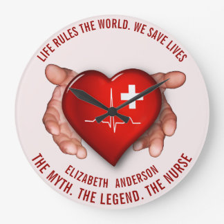Registered Nurse With Red Heart In Hands Large Clock