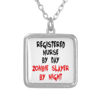 Registered Nurse Zombie Slayer Silver Plated Necklace