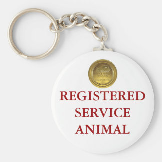 Registered Service Animal Tag Basic Round Button Key Ring