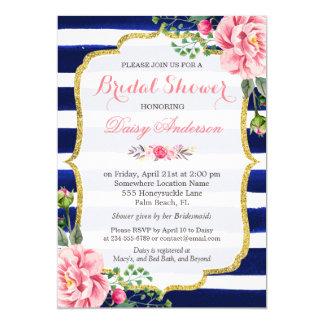 (Registry) Bridal Shower Navy Blue Stripes Flowers 13 Cm X 18 Cm Invitation Card