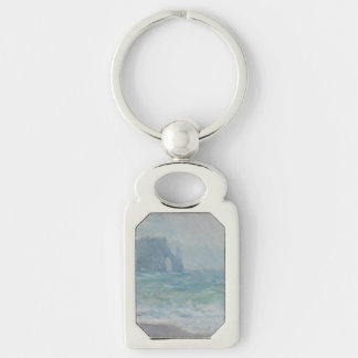 Regnvaer Etretat by Claude Monet Silver-Colored Rectangle Key Ring