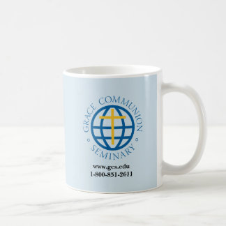 Regular coffee mug with GCS logo, website, and #
