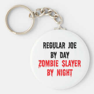 Regular Joe By Day Zombie Slayer By Night Basic Round Button Key Ring