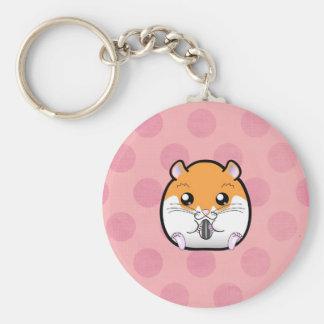 Regular Syrian Orange White Hamster Basic Round Button Key Ring