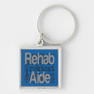 Rehab Aide Extraordinaire Silver-Colored Square Key Ring